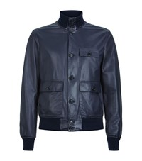 Ralph Lauren Leather Blouson Male Navy