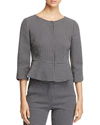 Armani Collezioni Checkered Peplum Blazer Black White