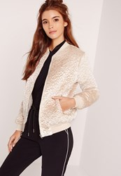 Missguided Faux Wool Bomber Jacket Cream Ivory