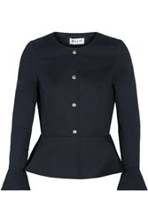 Paul And Joe Cotton Blend Peplum Jacket Midnight Blue