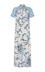 Antonio Marras Short Sleeve Cheongsam Styled Maxi Dress Light Blue
