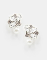 True Decadence Crystal Drop Earrings With Pearl Silver