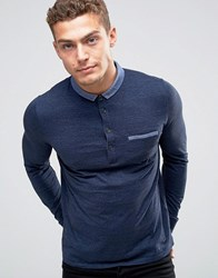 Boss Orange Patcherman Ls Polo Contrast Stitched Down Collar Navy