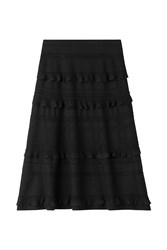Salvatore Ferragamo Ruffled Wool Silk Skirt Black