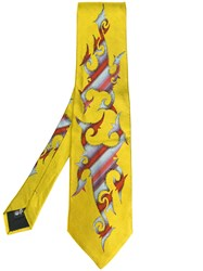 Jean Paul Gaultier Vintage Tribal Illustration Tie Yellow And Orange