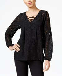 Ny Collection Sheer Illusion Peasant Top Black