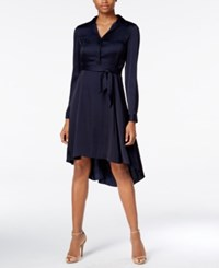 Armani Exchange Collared Fit And Flare Dress Solid Dark