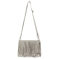 Mint Velvet Lyra Fringe Cross Body Bag Stone