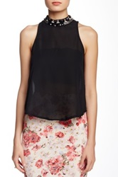 Blvd Embellished Neck Sleeveless Blouse Black
