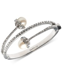 Carolee Silver Tone Imitation Pearl And Crystal Hinged Bangle Bracelet White
