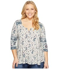 Lucky Brand Plus Size Paisley Swing Top Multi Women's Clothing