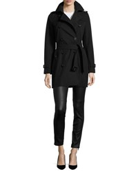 Burberry The Kensington Mid Length Heritage Trench Coat Black