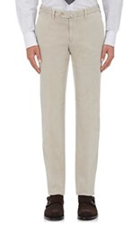 Isaia Men's Twill Flat Front Trousers Grey