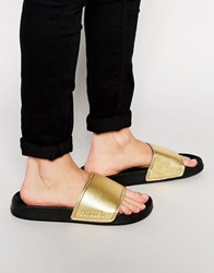 Slydes Metallic Slider Flip Flops Gold