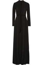 Issa Bianca Pleated Crepe And Stretch Jersey Gown Black