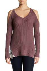 Madison And Berkeley Cold Shoulder V Neck Sweater Purple