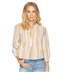 Bishop Young Sunset Stripe 3 4 Sleeve Orange White Stripe Blouse