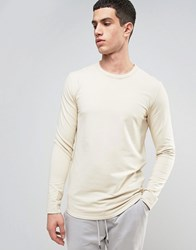 Selected Homme Longline Sweatshirt With Curved Hem And Back Stitch Oyster Gray Grey