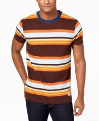 Ezekiel Men's Louie Striped T Shirt Chocolate