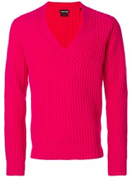 Tom Ford Deep V Neck Sweater Pink And Purple