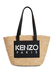 Kenzo Small Logo Patch Raffia Top Handle Bag Natural Black