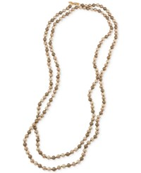 Carolee Gold Tone Gray Imitation Pearl Long Length Necklace