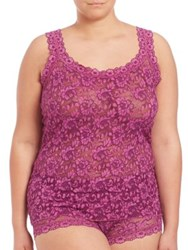 Hanky Panky Plus Size Cross Dyed Signature Lace Classic Camisole Fine Wine Enchanted Rose