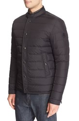 Moncler Men's 'Hanriot' Leather Trim Quilted Down Moto Jacket