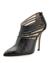 Elisabeth Strappy Leather Bootie Black Oscar De La Renta