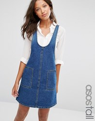 Asos Tall Denim Pinafore Dress In Mid Wash Blue
