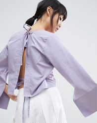 House Of Sunny Open Back Top With Wide Sleeve Lilac Purple