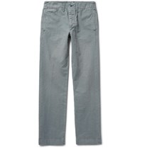 Rrl Officer's Slim Fit Garment Dyed Herringbone Cotton Trousers Blue