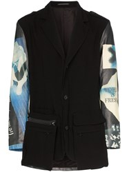 Yohji Yamamoto Graphic Print Leather Panelled Blazer Jacket Black