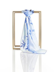 Shanghai Tang Lotus Play Silk Satin Chiffon Square Scarf Blue