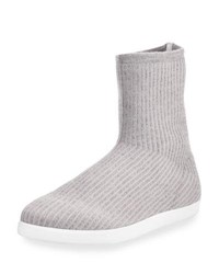 The Row Dean Knit Cashmere Sock Bootie Gray
