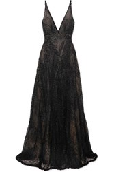 Costarellos Beaded Tulle Gown Black
