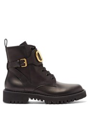Valentino V Logo Tread Sole Leather Ankle Boots Black