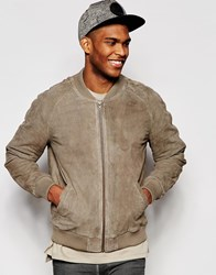 Asos Suede Bomber Jacket In Stone Stone