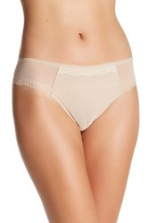 Chantelle Mesh And Lace Trim Thong Underwear Beige