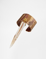 Sam Ubhi Ring With Mother Of Pearl Tusk Charm Brass