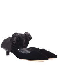 The Row Coco Velvet And Satin Mules Black