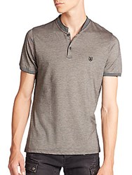The Kooples Stripe Trimmed Pique Polo Grey