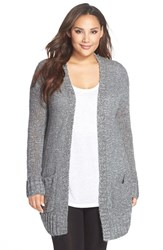 Plus Size Women's Make Model Open Knit Long Cardigan