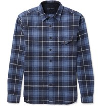Alex Mill Slim Fit Plaid Brushed Cotton Flannel Shirt Blue