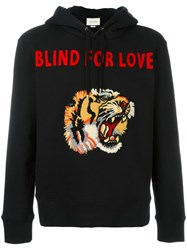 Gucci Tiger Applique Hoodie Black