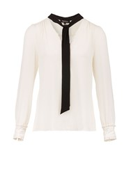 Morgan Button Detail Chiffon Look Blouse White