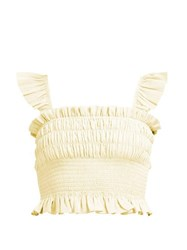 Loup Charmant Smocked Cotton Crop Top Yellow