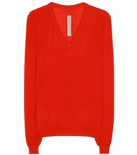 Rick Owens Cashmere V Neck Sweater Red
