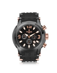 Lancaster Bongo Chrono Men's Stainless Steel Watch W Black Rubber Strap