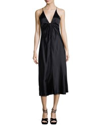 Alexander Wang Sleeveless Silk Charmeuse Midi Dress Black